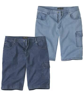 Pack of 2 Men's Stretch Denim Cargo Shorts - Blue