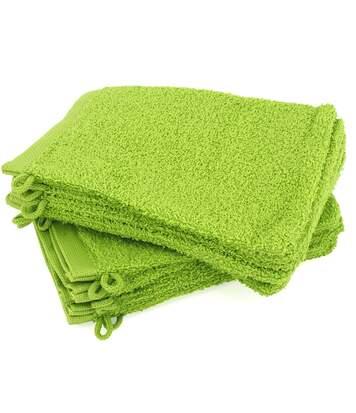 Lot de 12 gants de toilette 16x21 cm ALPHA vert Pistache
