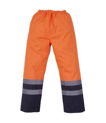 Yoko Mens Hi Vis Waterproof Overtrousers (Orange/ Navy) - UTRW4682