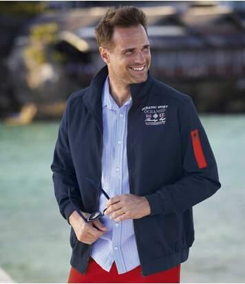 Men's Full Zip Summer Jacket - Water-Repellent - Navy Red