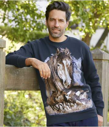 Men's Navy Fleece Sweatshirt - Horse Print