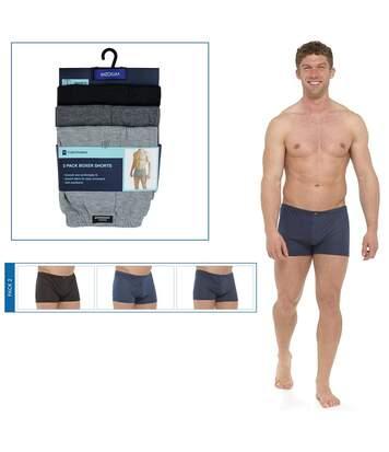 Tom Franks Mens Plain Jersey Boxer Shorts (3 Pairs) (Blue/Grey) - UTUT557