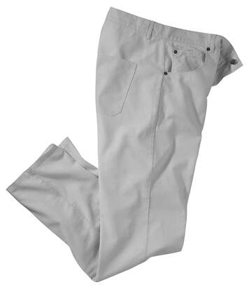 Men's Grey Cotton & Linen Stretch Trousers