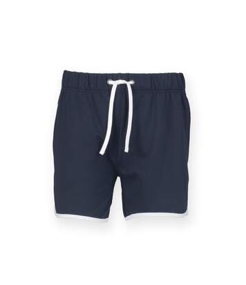 Skinnifit Mens Retro Training Fitness Shorts (Navy / White) - UTRW4749