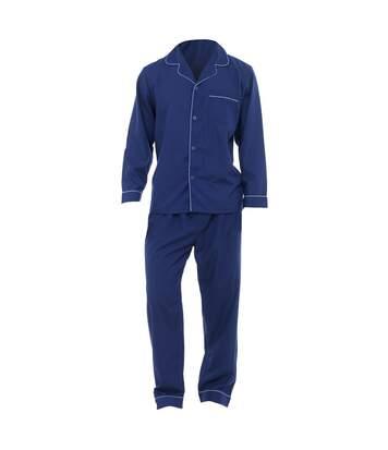 Mens Plain Long Sleeve Shirt & Trouser Bottoms Nightwear Pyjama Set (Navy) - UTN510