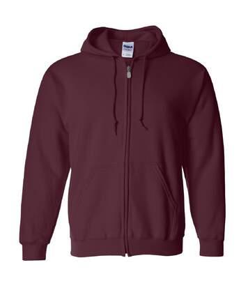 Gildan Heavy Blend Unisex Adult Full Zip Hooded Sweatshirt Top (Maroon) - UTBC471