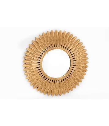 Miroir en métal design Plume - Diam. 50 cm - Doré