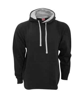 FDM Unisex Contrast Hooded Sweatshirt / Hoodie (300 GSM) (Black/Heather Grey) - UTBC2025