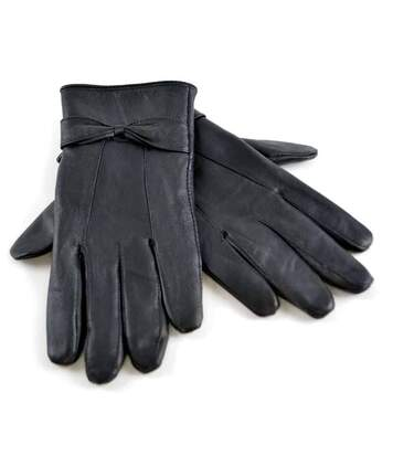 Ladies Fleece Lined Leather Gloves with Bow M/L