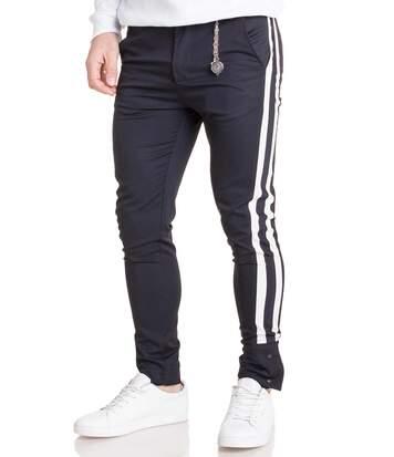 Pantalon slim esprit costume toile navy à bandes stylé pour homme classe
