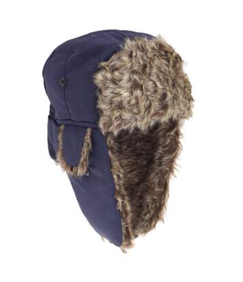 FLOSO Mens Faux Fur Lined Showerproof Thermal Trapper Hat (Navy) - UTHA248