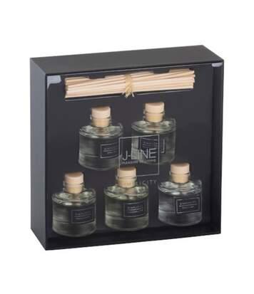 Paris Prix - Coffret 5 Huiles Parfumées & Bâtonnets simplicity 22cm Noir & Argent