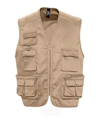 Gilet reporter multipoches sans manches - 43630 - beige