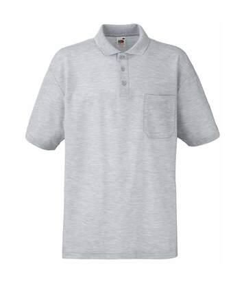 Fruit Of The Loom Mens Pocket 65/35 Pique© Short Sleeve Polo Shirt (Heather Grey) - UTBC387
