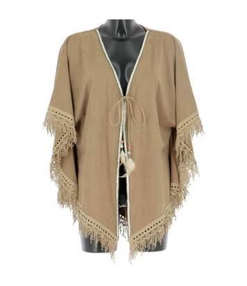 Cape Poncho femme Touché Daim et Franges Grande Taille bohème chic TANU