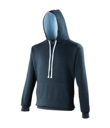 Awdis Varsity Hooded Sweatshirt / Hoodie (Heather Grey / Fire Red) - UTRW165