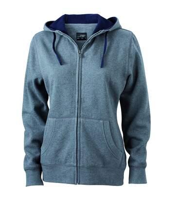 Sweat zippé à capuche femme - JN962 - gris