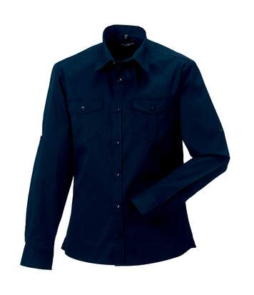 Russell Collection Mens Long / Roll-Sleeve Work Shirt (French Navy) - UTRW3260