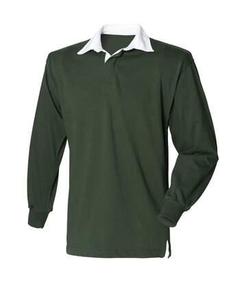 Front Row - T-Shirt De Rugby À Manches Longues En Coton - Homme (Vert bouteille) - UTRW473