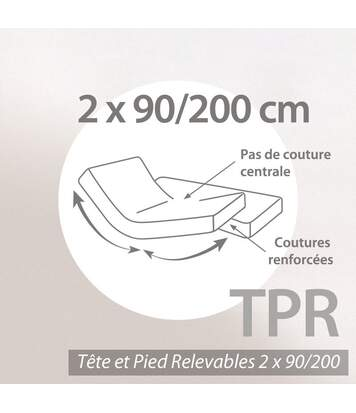 Protège matelas imperméable Antony blanc 2x90x200 Spécial lit articulé TPR Grand Bonnet 30cm