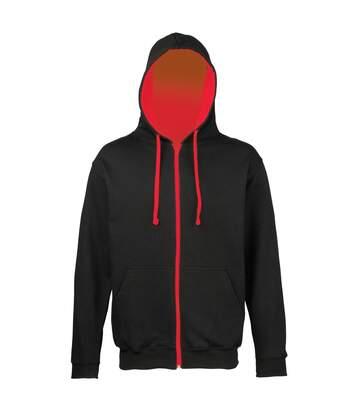 Sweat zippé à capuche unisexe - JH053 - noir et rouge