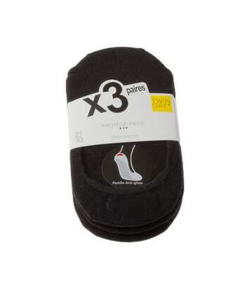 Chaussette Protège-pieds - Lot de 3 - Anti-glisse intérieur - Sans bouclette - Fine - Coton - Noir
