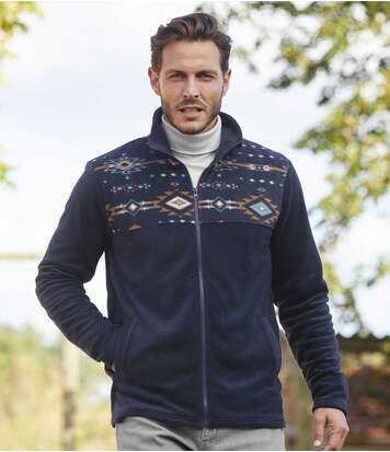 Men's Navy Navajo Full Zip Fleece Jacket