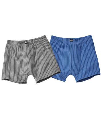 Pack of 2 Men's Striped Boxer Shorts - Blue Grey