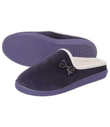 Women's Purple Velour Slippers