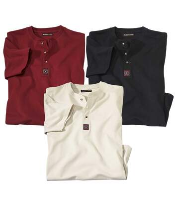 Pack of 3 Men's Button-Neck T-Shirts - Red Beige Black