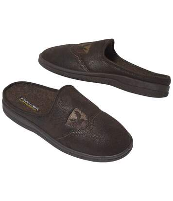 Men's Brown Faux-Suede Slippers with Fleece Lining