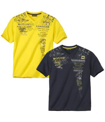Pack of 2 Men's V-Neck T-Shirts - Yellow Navy