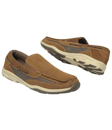 Men's Elasticated Camel Moccasins