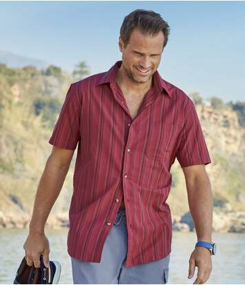 Men's Striped Red Shirt - Short Sleeve
