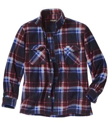 Men's Winter Fleece Overshirt - Blue Burgundy