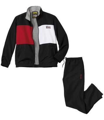 Men's Sporty Microfibre Tracksuit - Black Red White