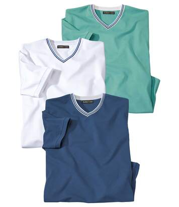 Pack of 3 Men's V-Neck Summer T-Shirts - White Blue Turquoise