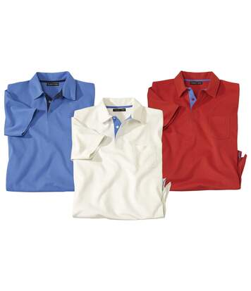 Pack of 3 Men's Plain Polo Shirts - Blue Red Off-White