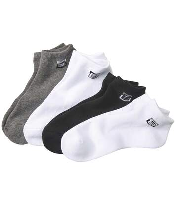 Pack of 4 Men's Sporty Trainer Socks - Black White Grey