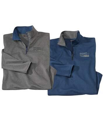 Pack of 2 Men's Half Zip Sporty Jumpers - Blue Grey