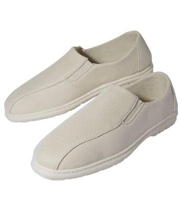 Men's ElasticatedCanvas Moccasins - Off-White