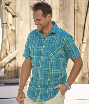 Men's Waffle-Effect Short Sleeve Checked Shirt - Blue