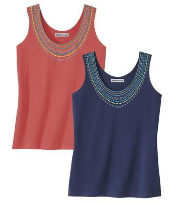 Pack of 2 Women's Vest Tops - Navy Coral