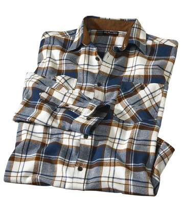 Men's Casual Checked Flannel Shirt - Blue Brown Ecru