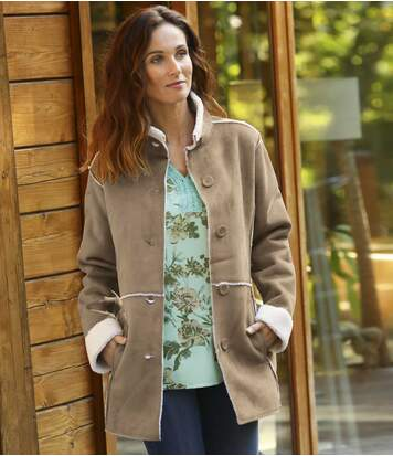 Women's Sherpa-Lined Faux-Suede Coat - Light Brown