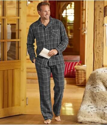 Men's Grey Checked Flannel Pyjamas