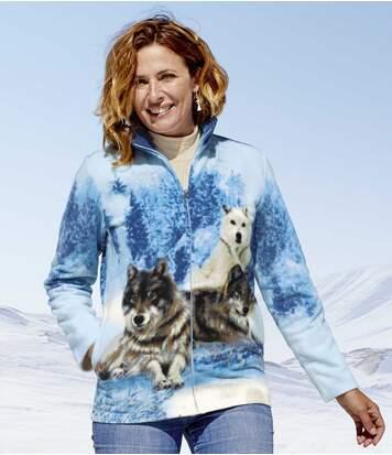Flísová bunda s potlačou vlkov