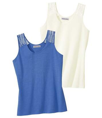 Pack of 2 Women's Macramé Vest Tops - Blue Off-White