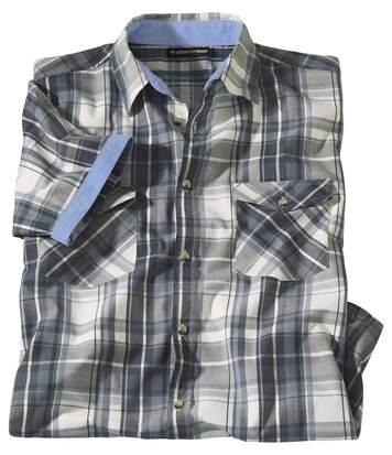 Karo-Hemd mit Revers in Chambray