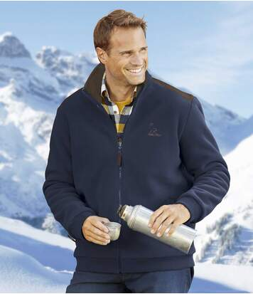 Men's Navy Rocky Mountains Fleece Jacket with Sherpa Lining - Full Zip